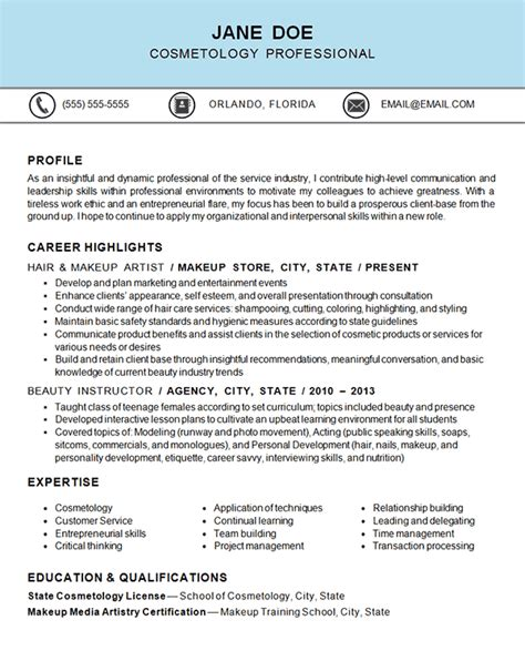 Cosmetology - Makeup Artist | Resume examples, Resume