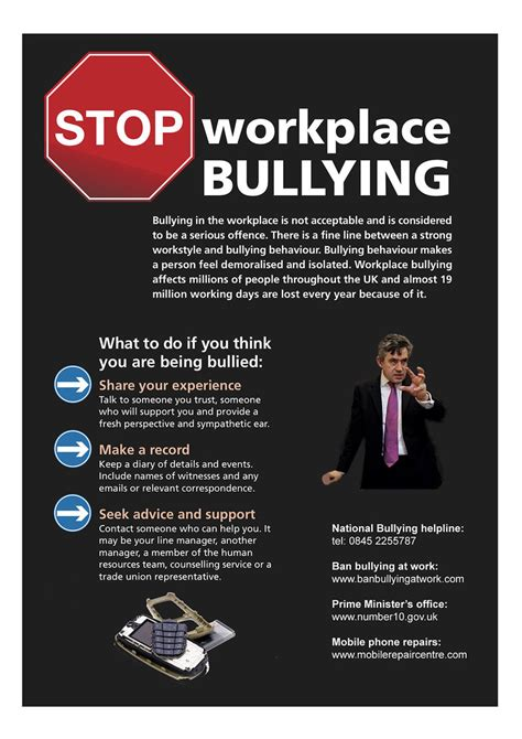 Stop workplace bullying poster | For those who work at