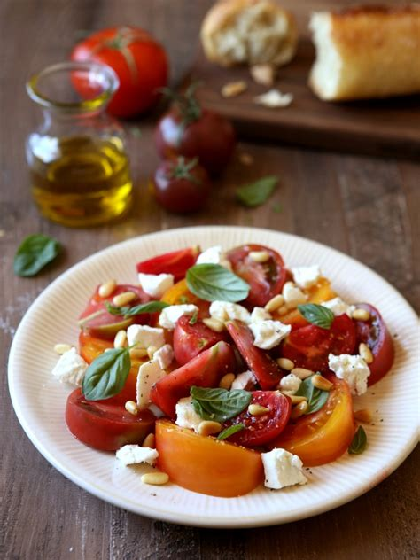 Tomato Salad with Goat Cheese and Pine Nuts - Completely
