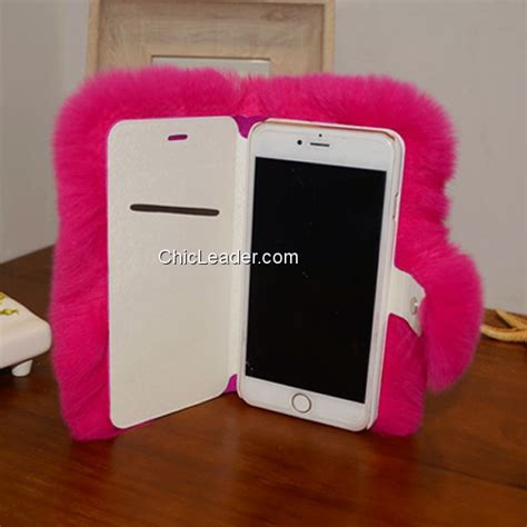 Cute Fluffy Rabbit Fur Flip Leather Case Cover for iPhone