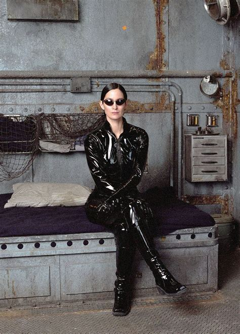 Carrie-Anne Moss in vinyl catsuit | Carrie anne moss