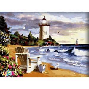 Paint by number kits Lighthouse and Beach 60cmX80cm