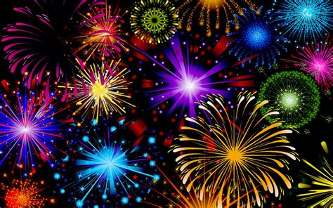 Celebration Fireworks In Red Blue Yellow And Green Color