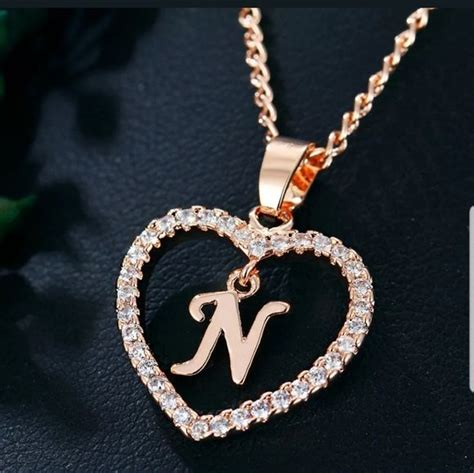 New gold tone letter N necklace in 2020 | Letter necklace