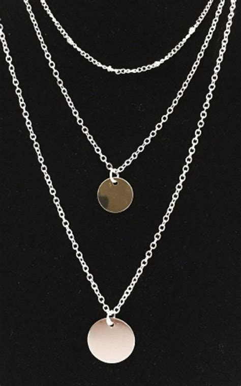 Silver Triple Chain Double Circle Necklace | HAUS OF DECK