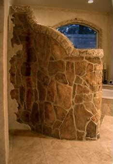 Walk In Shower ~ Stone Wall   Curved stone wall wraps