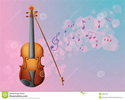 A Stationery With A Violin And Musical Notes Stock Vector