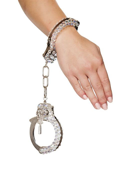 Buy Silver Handcuffs with Rhinestones from Rave Fix for