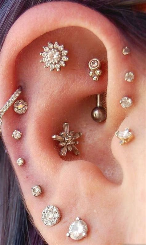 multiple ear piercing combinations ideas for cartilage