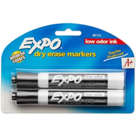 Expo Low-Odor Dry Erase Markers, Chisel Tip, Black 2 ea