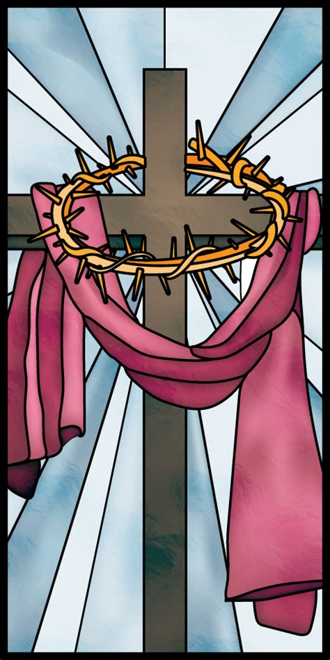 Church Banner - Easter - Stained Glass Cross
