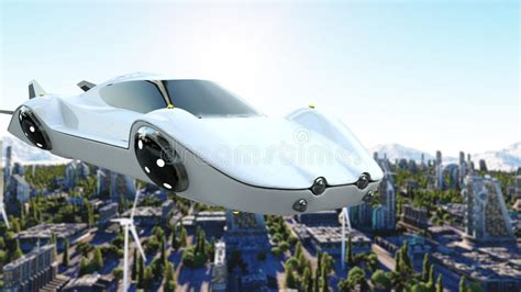 Futuristic Car Flying Over The City, Town