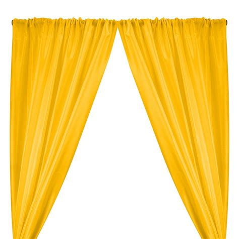 Bright Yellow-3 Polyester Dupioni Fabric Curtains with