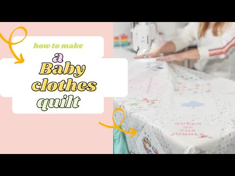 Beautiful baby clothes quilt with ruffle binding