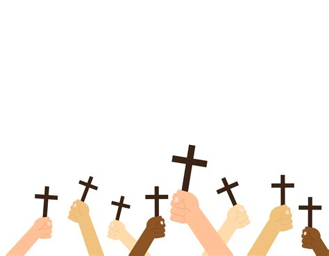 Hands holding christian cross isolated on white background