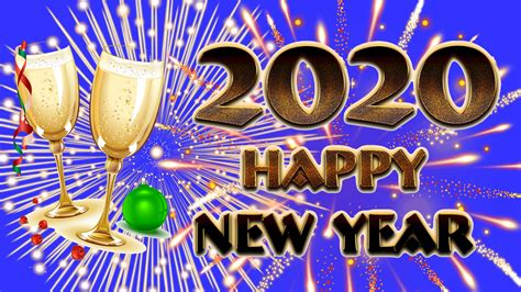 Greeting Card Happy New Year 2020 Champagne Fireworks