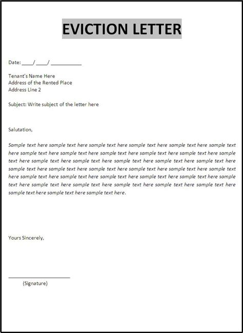 Free Eviction Letter Format | Free Word Templates