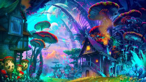 fantasy Art, Drawing, Nature, Psychedelic, Colorful, House
